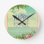 grunge,retro photo,trendy,happy place,typography round clocks