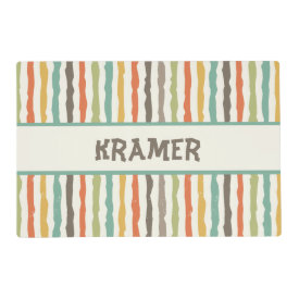 Grungy Stripes Personalized Pet Placemat Laminated Place Mat