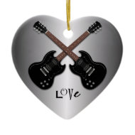 Guitars Love to Play Heart Shaped Ornament