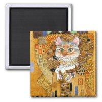 Gustav Klimt Cat in Gold spoof magnet | Zazzle.com