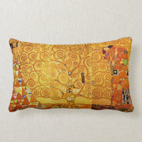 Gustav Klimt Tree of Life Art Nouveau Lumbar Pillow
