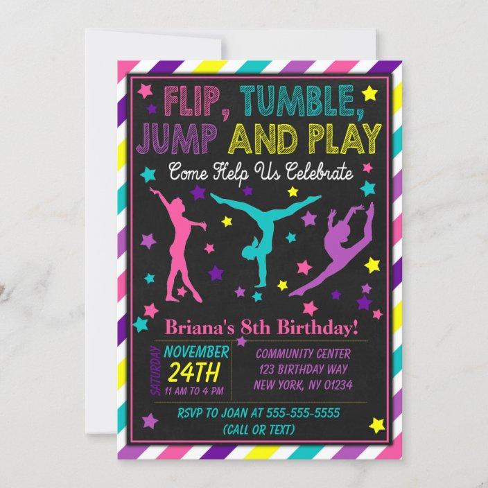 gymnastics birthday party invitation for a girl zazzle com