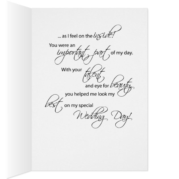 Hair Dresser And Makeup Artist Wedding Thank You Card Zazzle