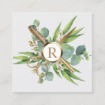 Hair & Lashes Salon Botanical Gold Monogram Square Business Card