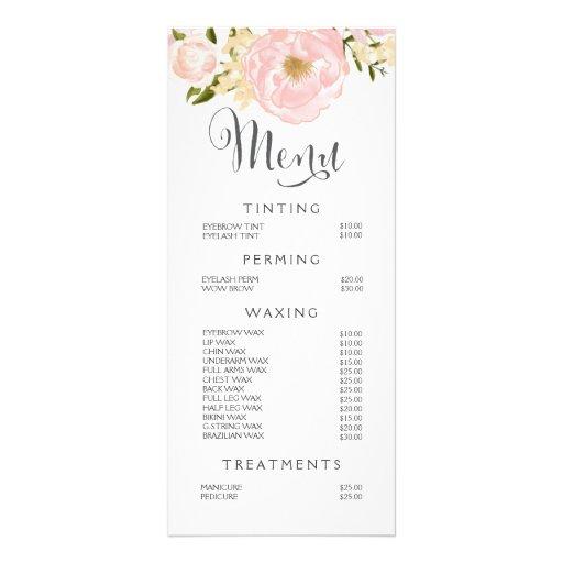 Hair Nail Salon Beautician Menu Floral Price List Zazzle
