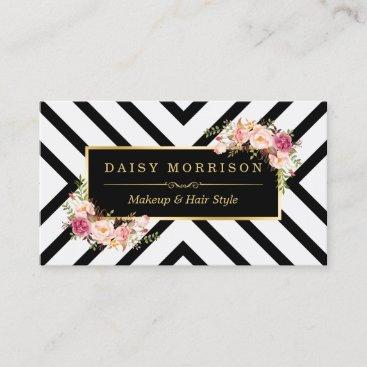 Hair Stylist Beauty Salon Gold Vintage Floral Business Card