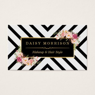 Hair Stylist Beauty Salon Gold Vintage Floral Business Card
