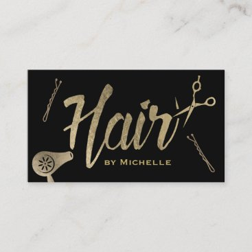 Hair Stylist Black & Gold Typography Beauty Salon Business Card