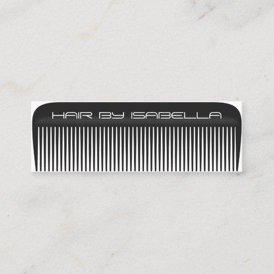 Hair stylist comb modern black hair salon branding mini business card