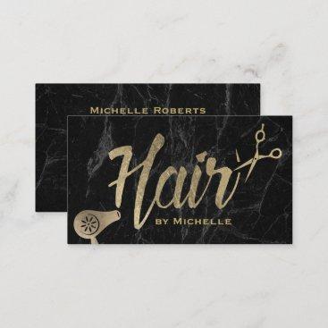 Hair Stylist Gold Typography Modern Marble Salon Business Card
