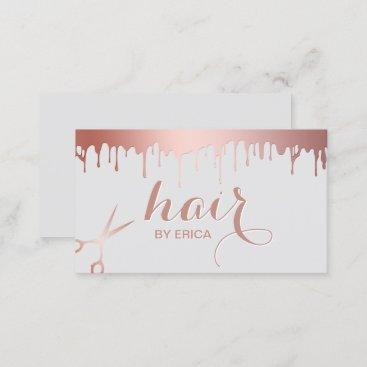 Hair Stylist Modern Rose Gold Scissor Beauty Salon Business Card