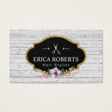 Hair Stylist Vintage Floral Rustic Wood Business Card