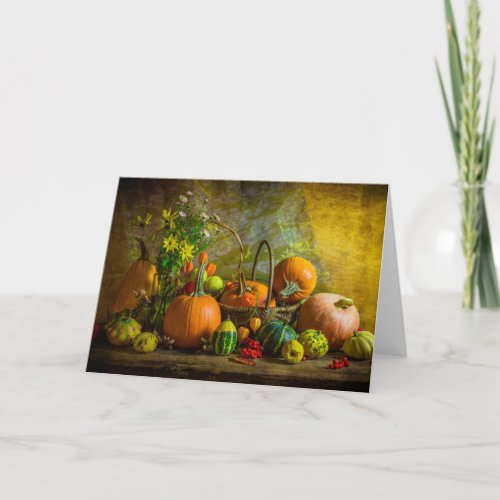 Halloween Autumn Fall Pumpkin Setting Table Card