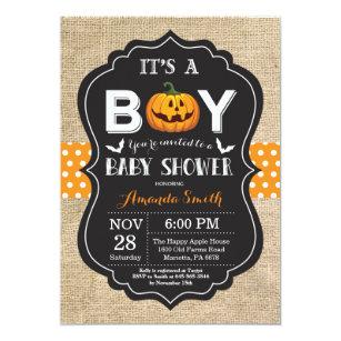 Baby Boy Shower Invitation Card Burlap