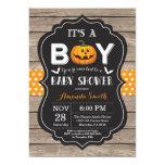 Halloween Baby Boy Shower Invitation Rustic Wood