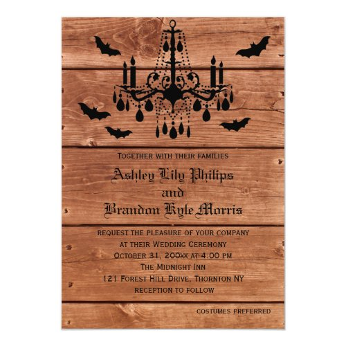 Halloween Barn Chandelier Wedding Invitation