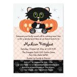 Halloween Black Cat Pink Diaper Pin Baby Shower Invitation