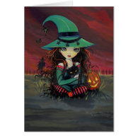 Halloween Card Cute Witch and Black Cat