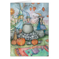 Halloween Card Witch Cat Tea Party Fun