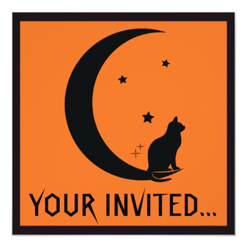 Halloween Cat, Stars, and Moon in Silhouette Invitation