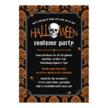 Halloween Costume Party Skull on Orange Damask Invitation