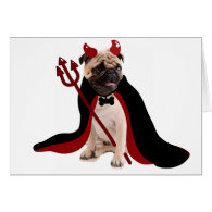 Halloween Devil Pug Greeting Cards