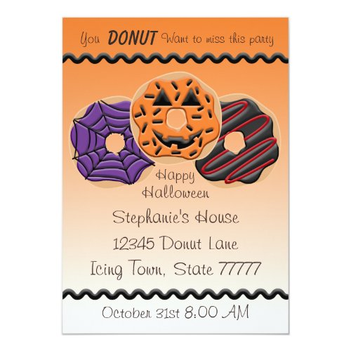 Halloween Donut Birthday Party Bake 5x7 Invitation