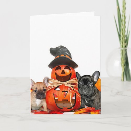 Halloween French Bulldogs Card