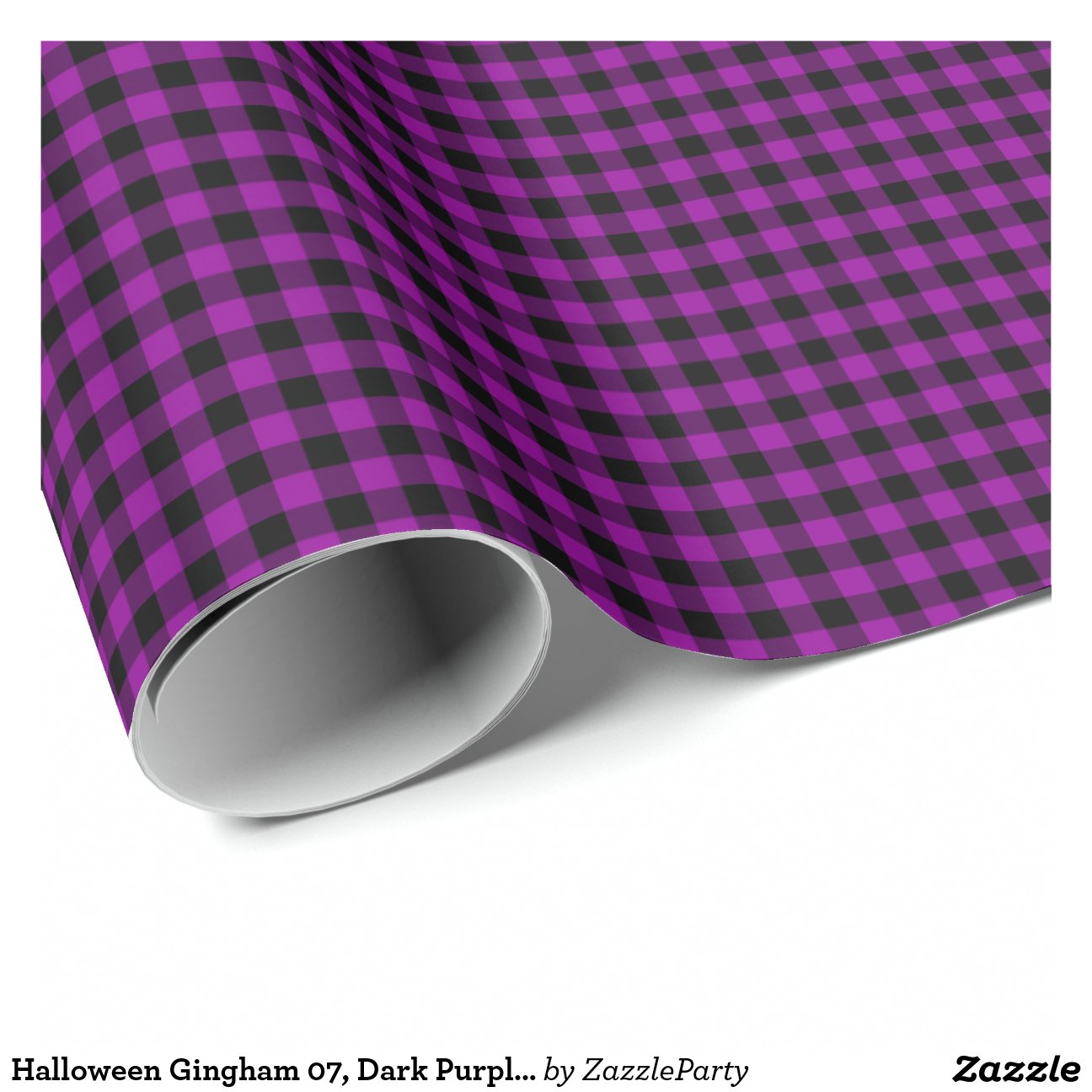 Halloween Gingham 07 Dark Wrap Paper Wrapping Zazzle