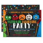 Halloween Kids Pumpkin Painting Party Invitation