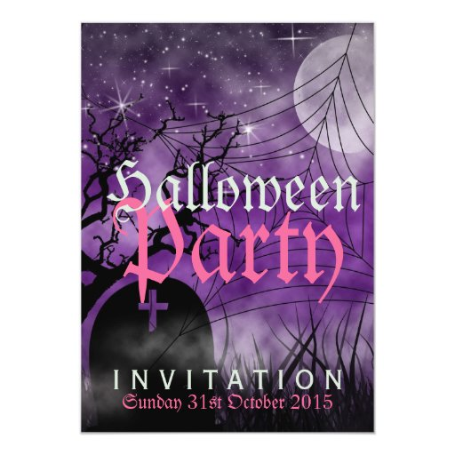 Halloween Moon & Spider Web Purple Invitation
