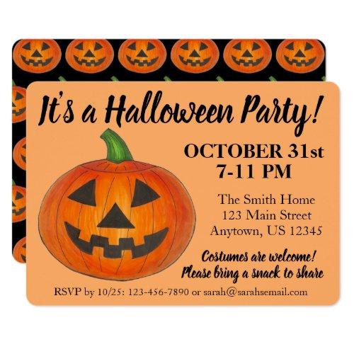 Halloween Party Orange Jack o' Lantern Pumpkin Invitation