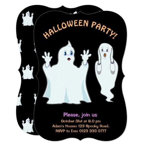 Halloween Trumpy & Munchy Ghosts Invitation
