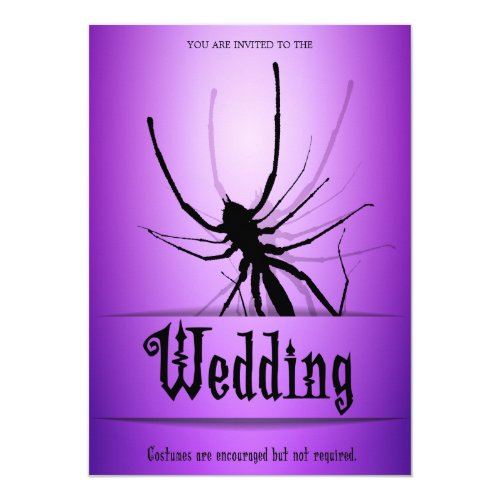 Halloween Wedding Invitations Purple Spider