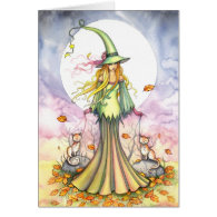 Halloween Witch and Cat Art Card