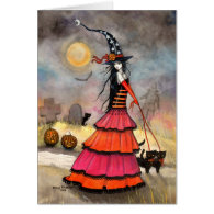 Halloween Witch and Cats Graveyard Card