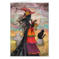 Halloween Witch Black Cat Graveyard Fantasy Art Card
