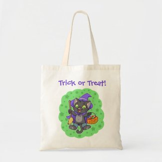 Halloween witch cat and pumpkin tote bag