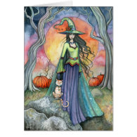Halloween Witch Cat Pumpkin Card