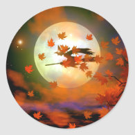 Halloween Witch Flight Classic Round Sticker
