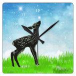 Hand drawn deer square wall clocks