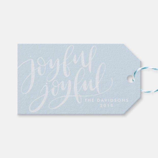 Hand-Lettered Joyful Joyful Christmas and Holiday Gift Tags