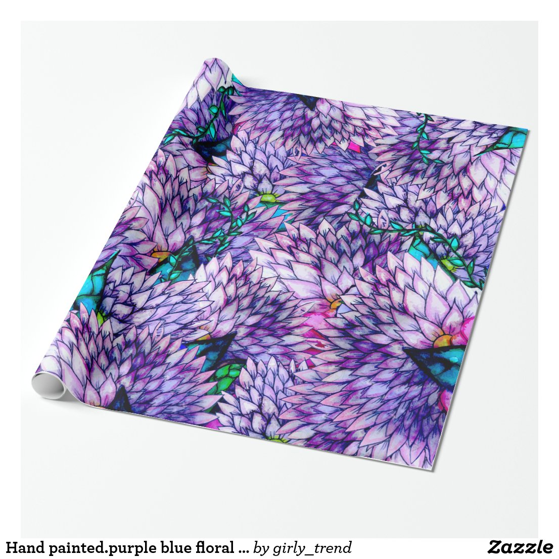 Hand painted.purple blue floral watercolor pattern wrapping paper