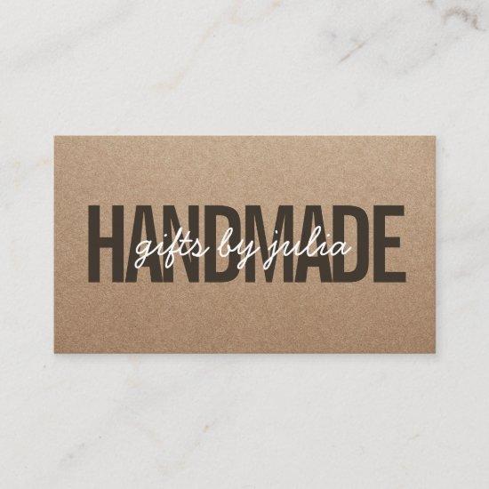 Handmade rustic brown kraft vintage white script business card