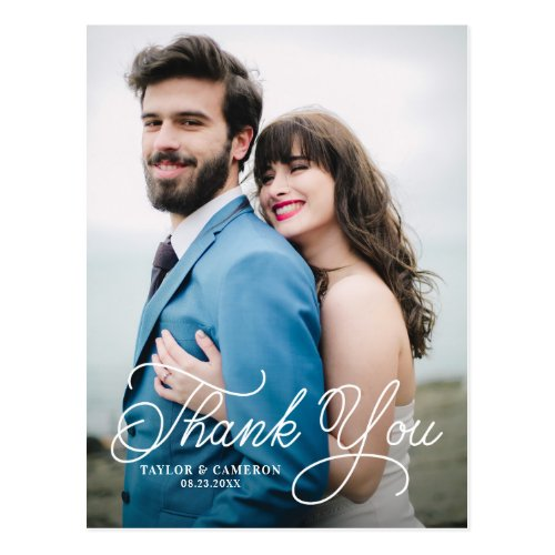 Handwritten Calligraphy Wedding Thank You II Postcard