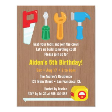 Handyman Tool Boys Birthday Party Invitations