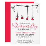 HANGING HEARTS Valentine's Day Dinner Party Invitation