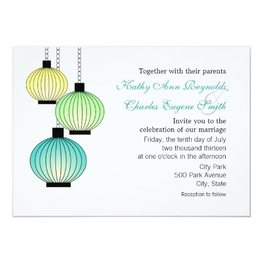 Hanging Lanterns Wedding Invitations