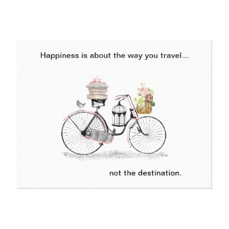 Happiness bike travel stretched canvas print
