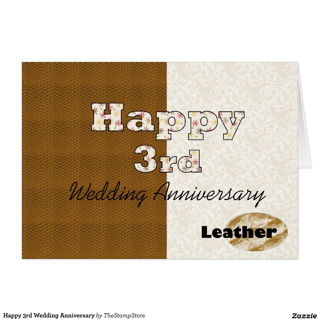 Happy 3rd Wedding Anniversary Greeting Card  Zazzle
